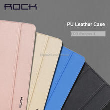 2015 NEW Original ROCK Touch Series Triple Folding Intelligent Flip PU Case for ipad mini4