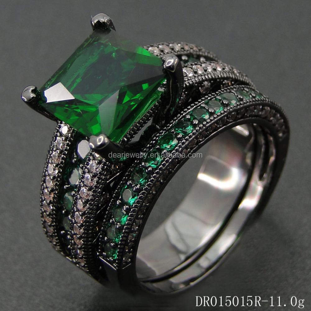 Sets Jewelry Men Black Plated Rings With Emerald Stone and White CZ DR015015R