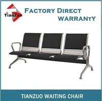 WL500-03CS Anti-rust 3 seat pu leather waiting bench mesh stainless chair