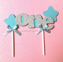 Newest ONE with Star Baby blue and Pink Baby Shower Cake Toppers