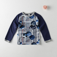 boys t-shirt with all over printing, 95%cotton 5%spandex Long sleeve