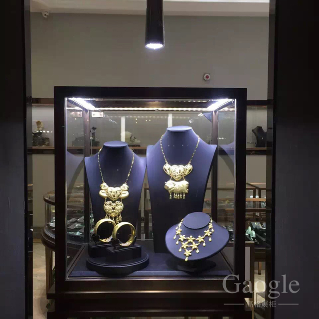 modern high end fashion metal jewelry accessories glass display cabinet showcase