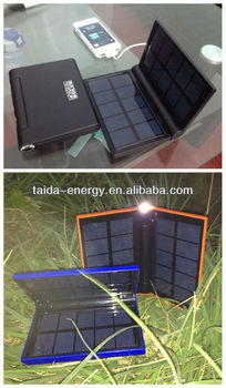 Outdoor solar panel power bank solar power bank travel charger with 1w super bright torch