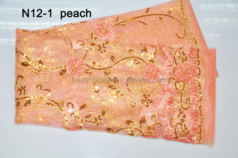 N12-1--PEACH-- embroidery french lace with nice sequence for wedding dress