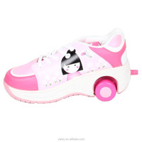 2015 new girls 2 wheels Chin dolls flying & roller shoes