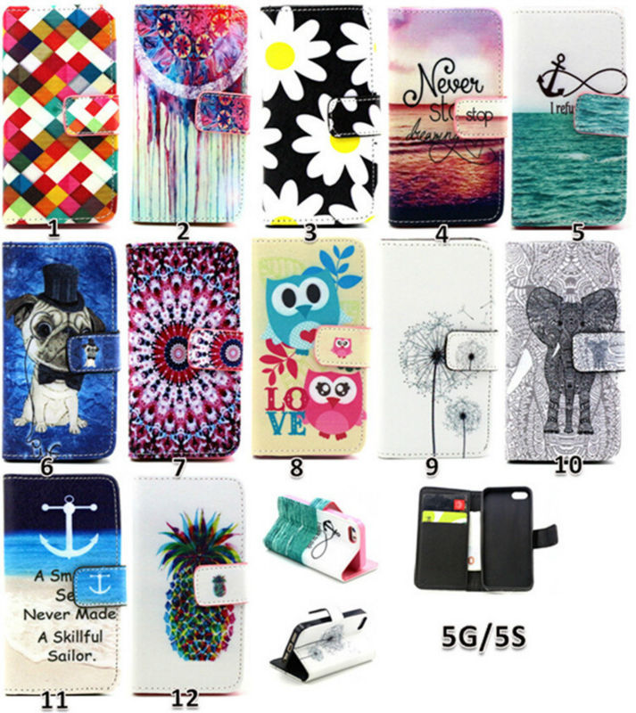 Cheapest for iPhone5 TPU soft Shell Case, Wholesale printing PU leather wallet case with card slot for iPhone5s alibaba China