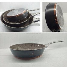 Copper color hard anodized forged air fryer non stick fry pan with glass lid induction cooker cookware set LFGB/FDA