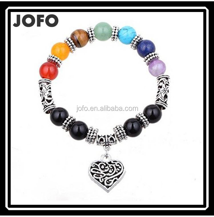 2017 New Design Vintage Silver Heart Charms Elastic Band Beaded 7 Chakra Bracelets For Women