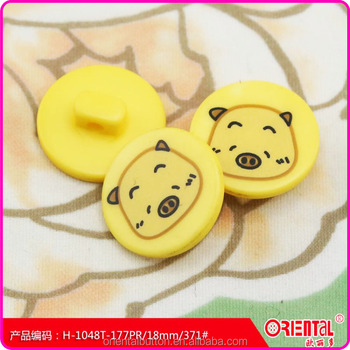 fancy colorful shank plastic kids button for children clothing digital printing with cute cartoon pattern