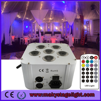 6 Lens QUAD Color 6in1 RGBAW UV White/Black Case DMX LED Flat Par lighting