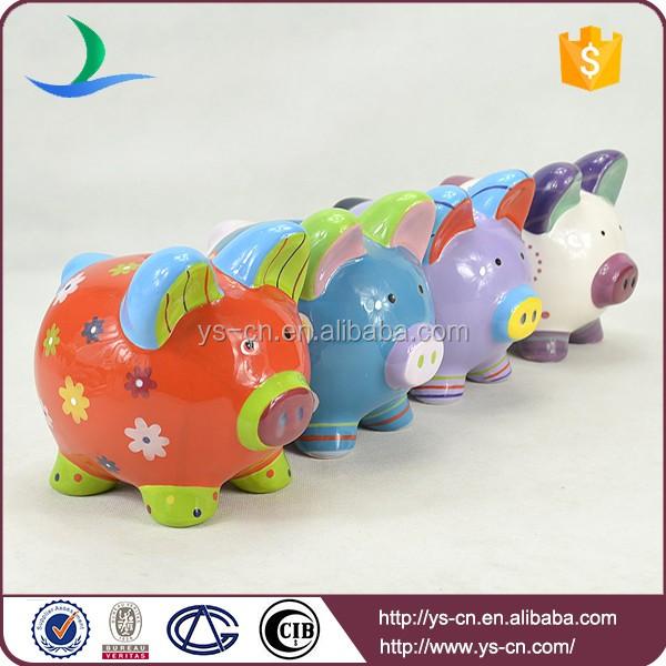 Yscb 1 wholesale hand paint ceramic piggy bank for kids for How to paint a ceramic piggy bank