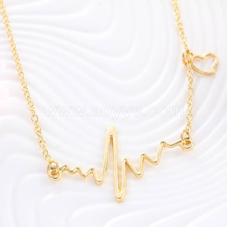 New fashion vintage gold plated women simple style cute heart beat necklace