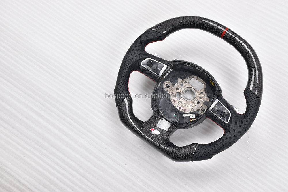 Flat top and bottom carbon fiber steering wheel for old Audi S5