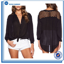 Ladies New Fashion Women Woven Top With Embroidered Shoulder
