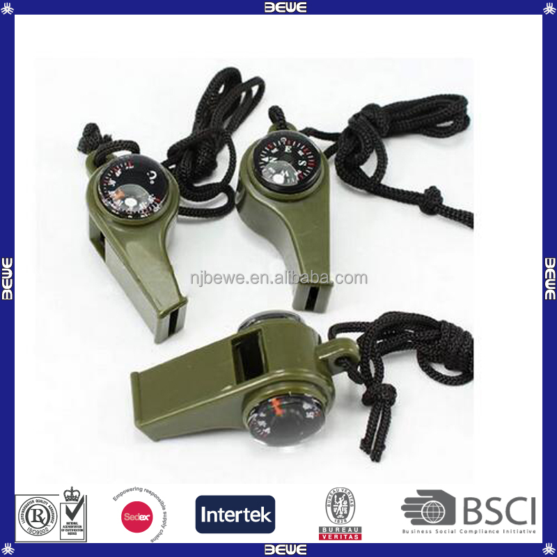 China Made Good Price Colorful Survival Plastic Whistle with Compass