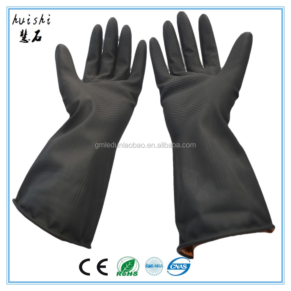 Cheapest Heavy Duty Black Industrial Rubber working glove for industry work
