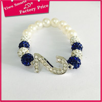 Hot sale adjustable shamballa bracelet 2016 fashion sapphire blue crystal gemstone bead bracelet with Number 2 pendant