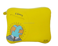 Yellow color neoprene zipper pocket laptop tablet sleeve case
