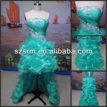 2018 Real picture hot sale tiered skirt High low hem discount emerald green prom dress