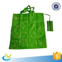 Eco-Friendly 210D polyester heavy duty foldable long handle carry on shopping bag