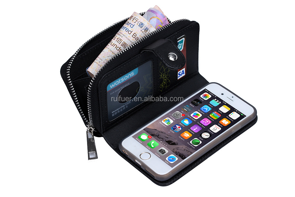 China Manufacturer Wholesale Woven Pattern Pouch Detachable Multifunction Wallet Leather Case for Iphone 6 Plus