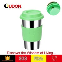 stainless steel color coffee mug rubber lid