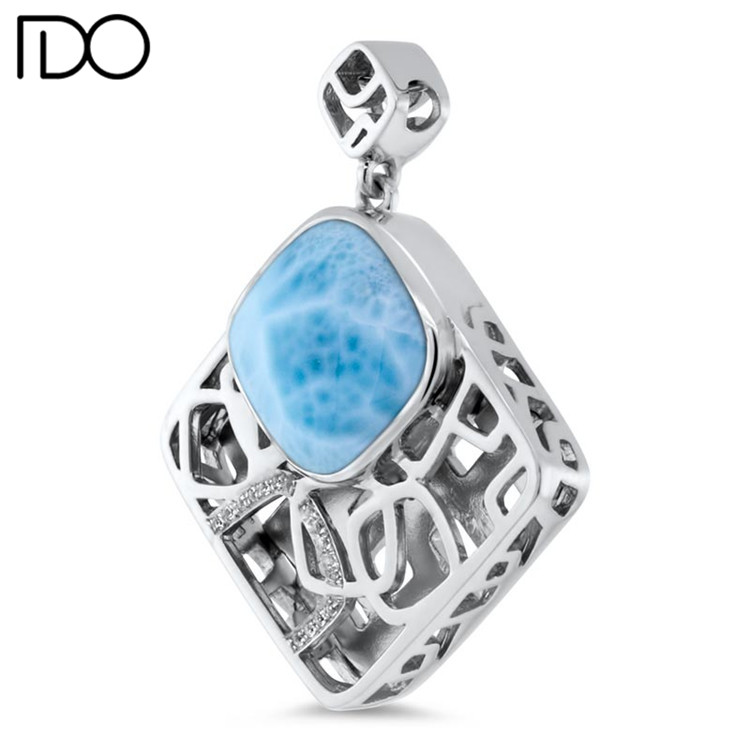 Latest design larimar 925 silver jewelry making supplies wholesale china charms larimar pendant
