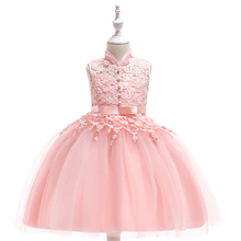 Hot new girl ball gown lace organza children hollow out tassel dress