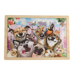 Cute dog puzzle wood toy for child