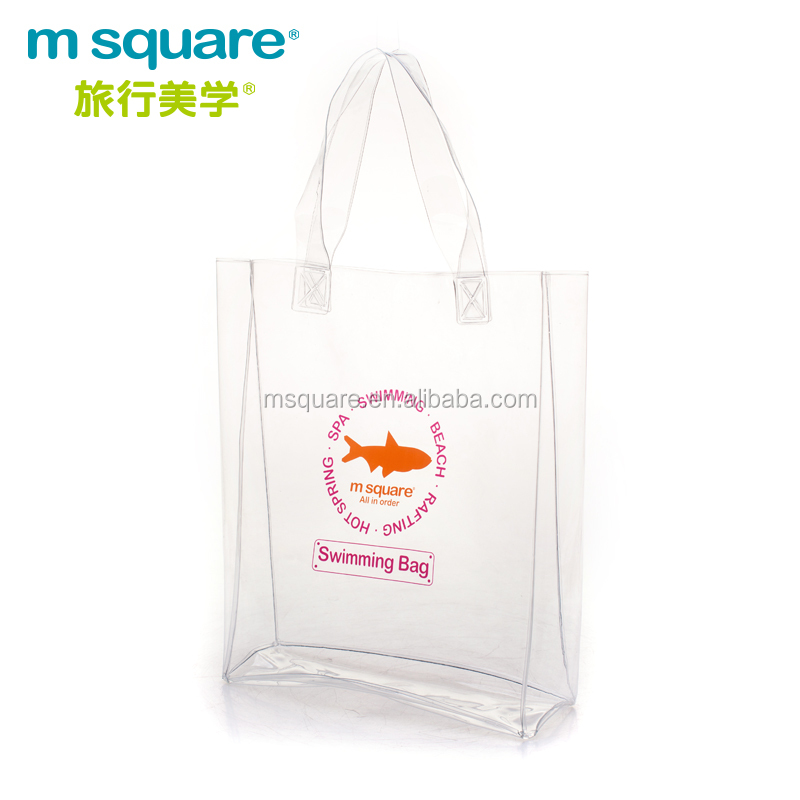shopping square bottom portable clear PVC plastic transparent bag