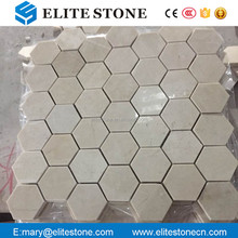 "2"" crema marfil marble price Hexagon Mosaic Tile Honed"
