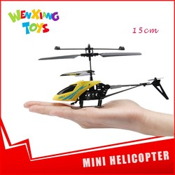 To fly 15 cm red/yellow mini blades helicopter