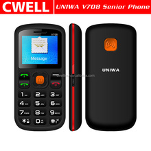 UNIWA V708 Big Button 1.8 Inch Dual SIM Card Quad Band SOS Function with Charger Cradle CE & RoHS Certificates Passed Cell Phone