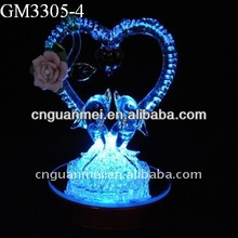 Whoelsale couple dolphin valentine glass heart gifts with rainbow changing color