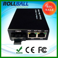 Buy direct from china manufacturer 1 SC port to 2 rj45 port 20km 80km 100M fiber optic converter