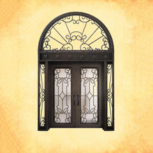 Luxury apartment front door entrance wrought iron arched double entry doors