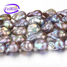 15mm AA pink color lavender nucleated baroque irregular large natural purple pearl string