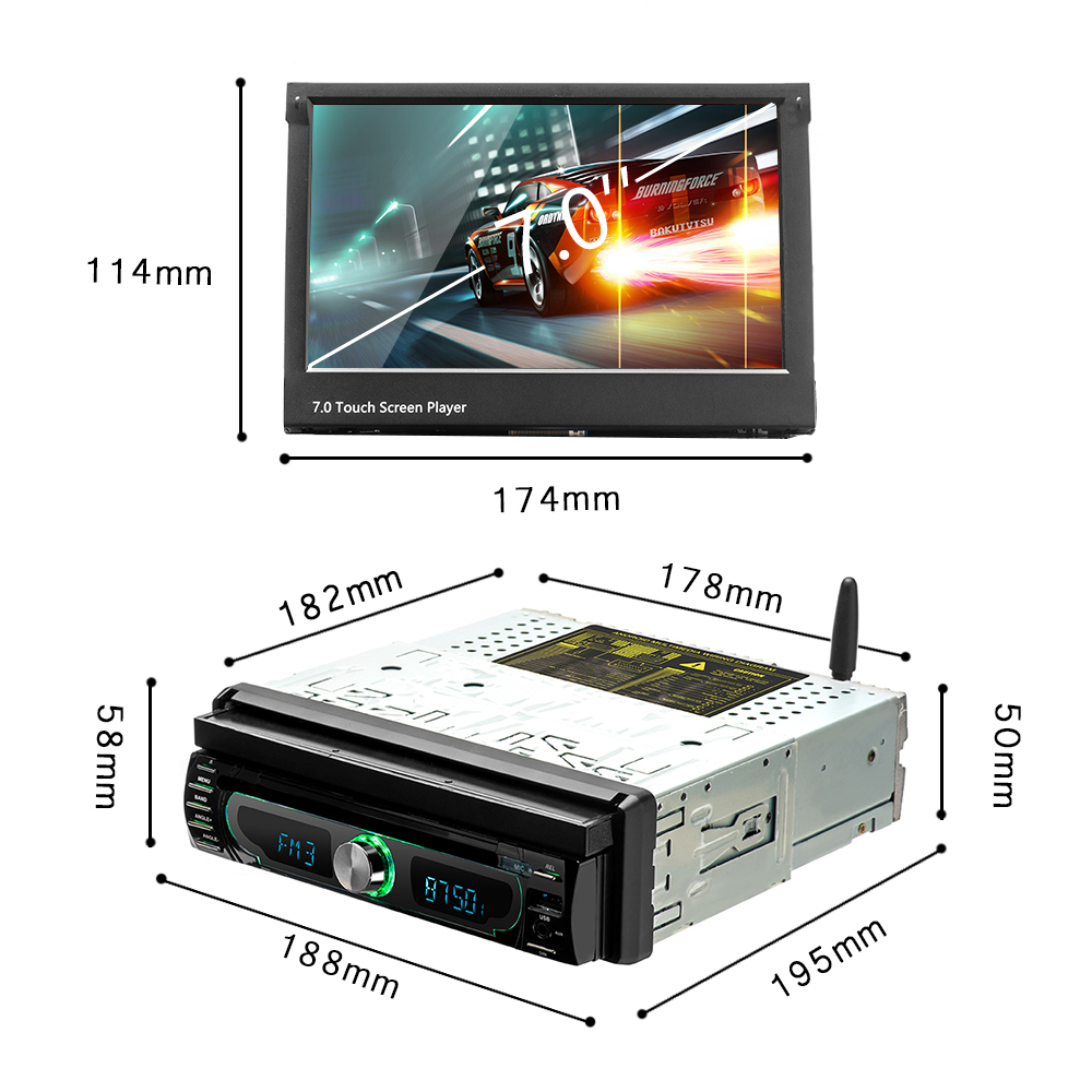 "Podofo Android 8.0 Car DVD Player 1DIN Autoradio 7"" Radio Stereo GPS WiFi Bluetooth Touch Screen MP5 Detachable Panel + Camera"