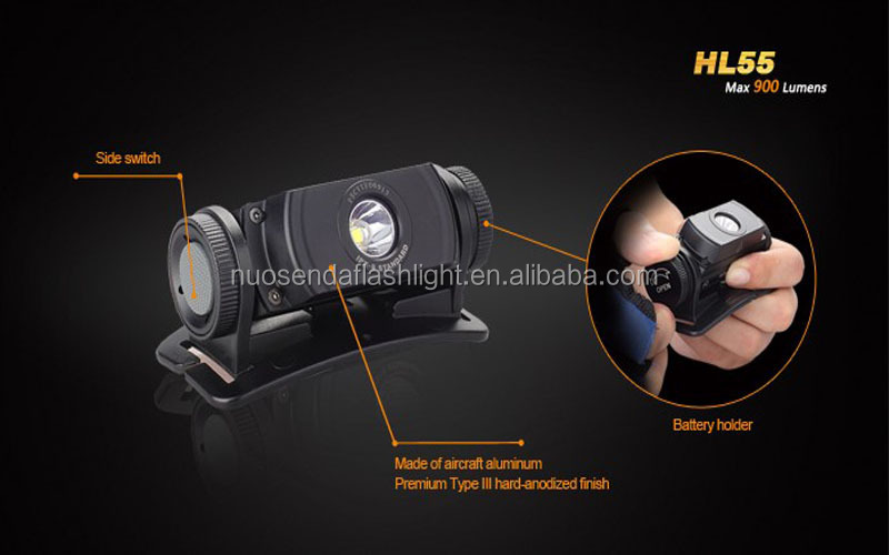 top quality led light HL55 CREE XM-L2 T6 900lm 3.0V 7.8V 5-Mode Waterproof LED Headlamp (1x18650/2xCR123A)