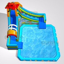Durability commercial inflatable land water park on land with pool slide for kids and adults