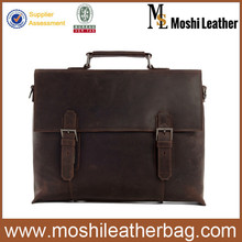 7035A Moshi Vintage Brown Leather Business Briefcase Fit 15 inch Leather Laptop Bag