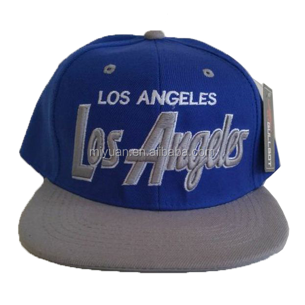 USA Los Angels Customized Blue Acrylic Adult Flat Snapback Baseball Cap With 3D Embroidery Logo