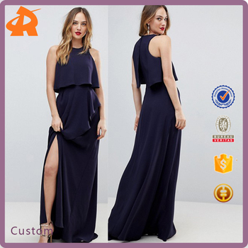 custom made navy blue girl long dress,latest dress designs pictures supplier in china