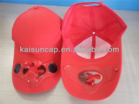 Super fashion red fabric solar fan cap with your own logo
