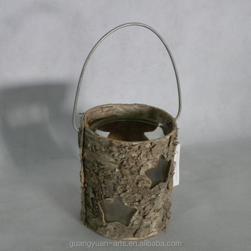 rustic birch bark crafts glass cup candle holder