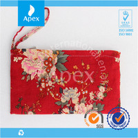 Chinese style flower cotton waterproof bag phone with zipper