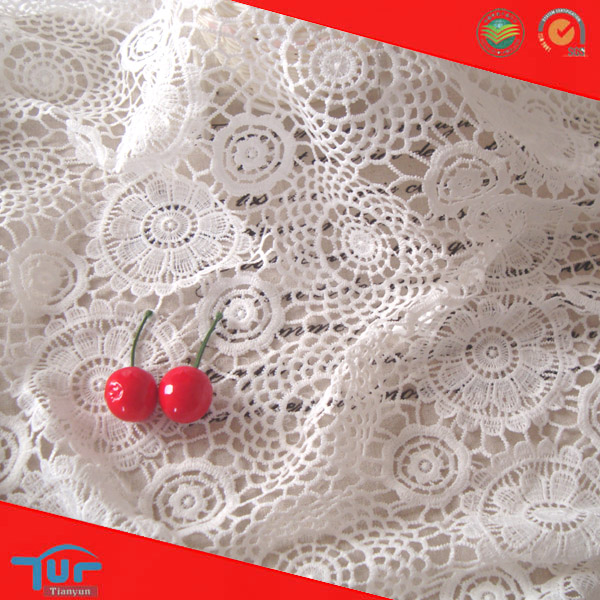 Unique White Web Guipure Polyester Cheap Curtain Fabric