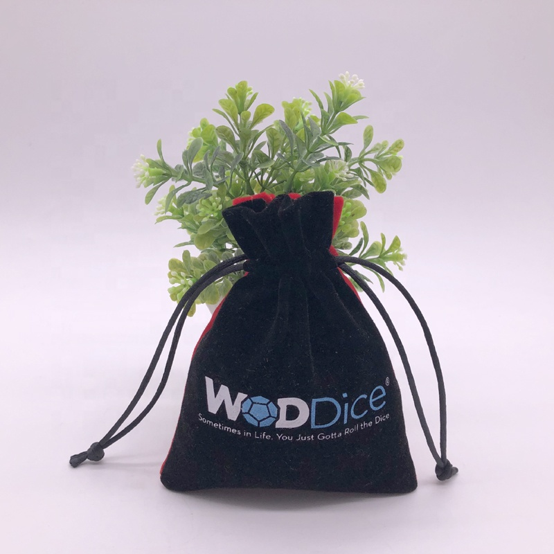 Personalized Black Red Velvet String Bag For Dice
