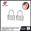 Handmade charm jewelry,wholesale custom korea ear piercing,stainless steel lock earring