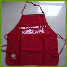 Big Brand Red Color Polyester Cotton Twill Fabric Bib Type Nestle Apron made by BSCI auditing Factory